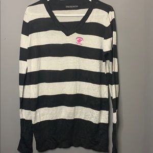 Beverly Hills polo club v neck striped sweater 1X